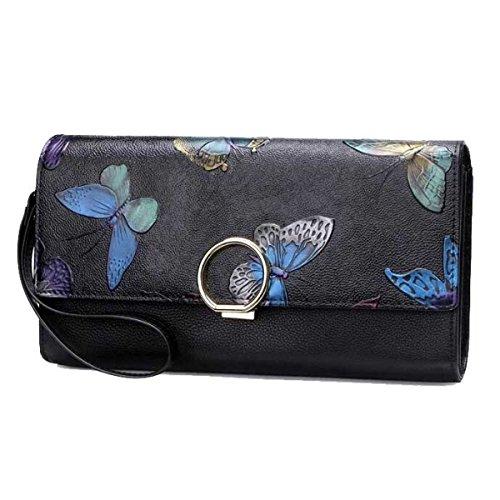 Donne Pelle Borsa A Tracolla Frizione Pacchetto Diagonale Butterflyflowers