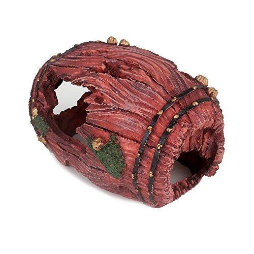 SENZEAL Schlange Höhle Kunstharz Weinfass Form Eidechse Scorpion Spinnen Reptile Versteck rot