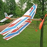 D DOLITY DIY Flugzeug Modell mit Gummimotor Lernspielzeug - Blau