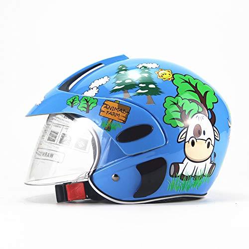 AMZ BCS Bambino Moto caSchi di Sicurezza Bambini Moto Leggero Cappelli Bambino Inverno Antivento Caldo Cartone Animato Casco Ragazzo Ragazza Mezza Helme Blu Bestiame (3-7 Anni)
