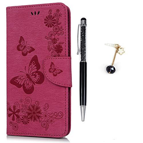 Iphone 6 flip cover, iphone 6s custodia libro pelle pu e tpu silicone con funzione supporto chiusura magnetica portafoglio libretto bumper case per iphone 6/6s, farfalla rosa caldo