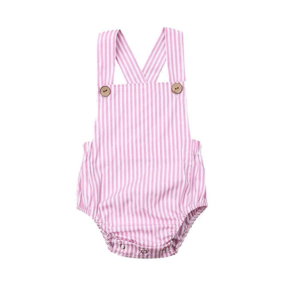 FELZ Ropa Bebe Niño Niña Verano Recién Nacido 0 Meses a 3 Años Mameluco Estampado con Rayas de Color Liso sin Mangas de…