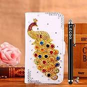 Locaa (TM) Samsung Galaxy S3 Mini I8190 S3mini (Not S3) 3D Bling Pfau Case + Griffel + Anti Staub Ohrstecker Deluxe Luxus Perlen Diamant niedlich Schöne Retro Card Holder Wallet Protection Hülle - [Pfau Serie] Weißes Holster - Bunte Pfau