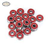 EisEyen 608 ABEC Reibungsfreie Kugellager für Skateboard, Roller, Inline Skates, Longboard Fidget Spinner Speilzeug (16 Stück) Rot/Lila/Gelb