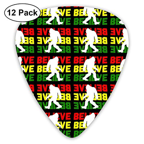 Believe Bigfoot Xmas Gift 351 Shape Classic Celluloid Guitar Pick For Electric Acoustic Mandolin Bass (12 Count) (Bigfoot-tools)