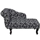 Fauteuil méridienne imprimé floral noir Couleur: Noir Matériaux: Cadre en bois + tissu de haute qualité Dimensions total: 104 x 51 x 69,5 cm (L x l x H) Largeur du siège: 83 cm Profondeur du siège: 47 cm Hauteur du siège ( à partir du sol): 37 cm Hau...