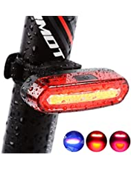 Yakamoz COB LED Lumière Arrière Pour Vélo USB Rechargeable Feux du Vélo Arrière Eclairage Arrière Vélo Ultra Léger Trois Couleur de Lumière -Rouge, Bleu et Rose Clair Avec USB Rechargeable - 6 modes de LED Imperméable à l'eau Bike Light