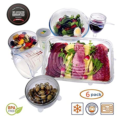 TWOPAGES Silicone Stretch Lids Covers(6 PCS) Microwave Safe, BPA Free - Reusable and Stretchable Silicone Food and Bowl Covers for Keeping Food Fresh, Dishwasher and Freezer Safe Fit Bowls, Cups, Containers and Mugs of All Shapes - Stretch Wrap Tipo