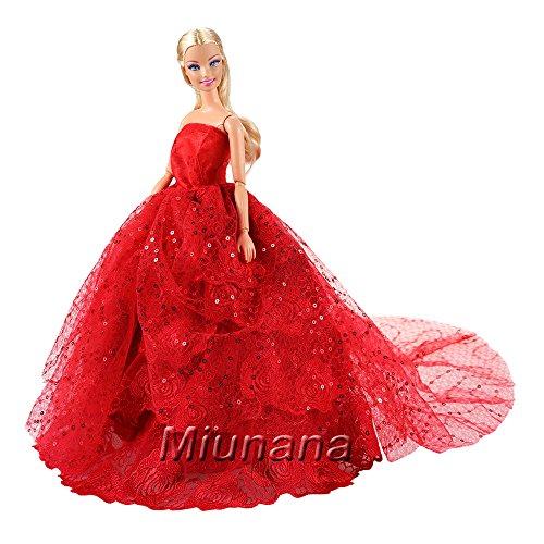 Miunana Hochzeitskleid Langer Spitze Zug Ballkleid Abendkleid Kleidung Kleider Rot für Barbie...