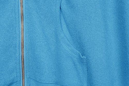 Urban GoCo Femme Sweat à Capuche Manche Longue Pull Hoodie Casual Zipper Veste Sweatshirt Grande Taille Bleu