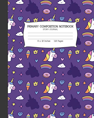 Primary Composition Notebook: Unicorn and Donuts Story Paper Journal: Grade K-2 Draw and Write Notebook (2 3 Princess Und Diaries 1 Und)
