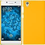 PhoneNatic Case für Sony Xperia L1 Hülle gelb gummiert Hard-case für Xperia L1 + 2 Schutzfolien