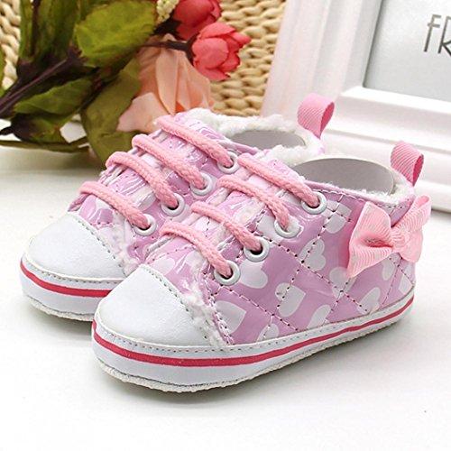 Babyschuhe Longra Kleinkind neugeborenes Baby Wolle Lace-Up Leinwand weichen Sohle Schnee Prewalker warme Lauflernschuhe Krippeschuhe (0 ~ 18 Monate) Pink