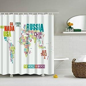 maplehouse Custom patrón de mapa del mundo impermeable cortina de ducha cortinas de baño resistente al agua cortina de…