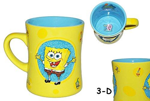 Unbekannt 3-D Relief - Henkeltasse groß - Spongebob - Porzellan / Keramik - Trinktasse mit Henkel Tasse Becher Porzellantasse Tassen für Kinder Mädchen Jungen Schwammko..