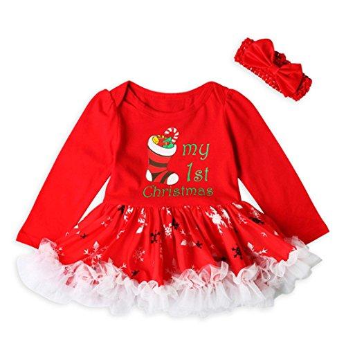 Hirolan Mädchen Prinzessin Drucken Tutu Kleid Weihnachten Outfits Set Rot Stirnband 3-18 Monate Kleinkind Neugeboren Baby Kleider Baumwolle Lange Hülse Festival die Röcke (70cm, (Outfits Festival Besten)