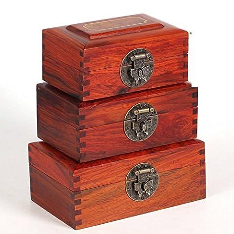 Mahagoni Palisander-Schmuck-Box/Dichtung Box enthalten jade Box/Ein Satz von drei eingelegten Kirsche Holz-Box-D