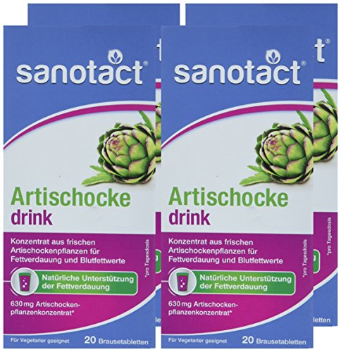 sanotact Artischocke Brausetabletten, 4er Pack (4 x 82 g)