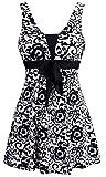 Wantdo Traje de Baño 1 Pieza para Mujer Monokini Estampado Floral con Falda 40 Negro