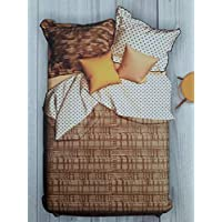 Portico New York Hashtag Printed Cotton King Size Double Bedsheet With Pillow Cover- 224 x 274 cm- Multi-Colour- 8044312