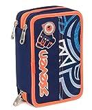 Trousse Scolaire 3 Compartiments Seven , MAORI , Bleu , Avec contenu: crayons, stylos... !