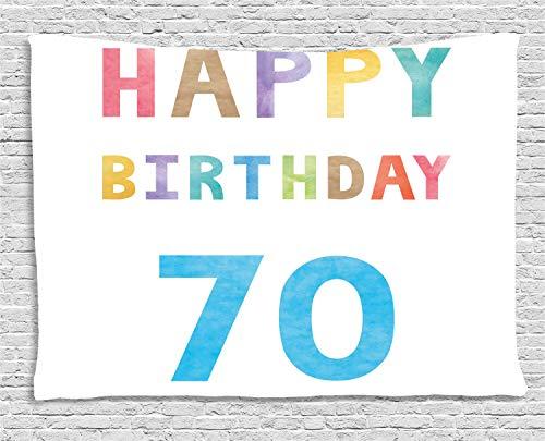 (ABAKUHAUS Bunt Wandteppich, Zusammenfassung 70 Geburtstag, Wohnzimmer Schlafzimmer Heim Seidiges Satin Wandteppich, 200 x 150 cm, Mehrfarbig)