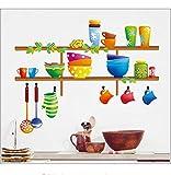 Coloré CuisineTablettes Murales Bande DessinéeBol De Cuillère Cuillère Cuillère Ustensiles De CuisineStickerMural Pour Cuisine Salle À Manger Décor40 * 60 Cm