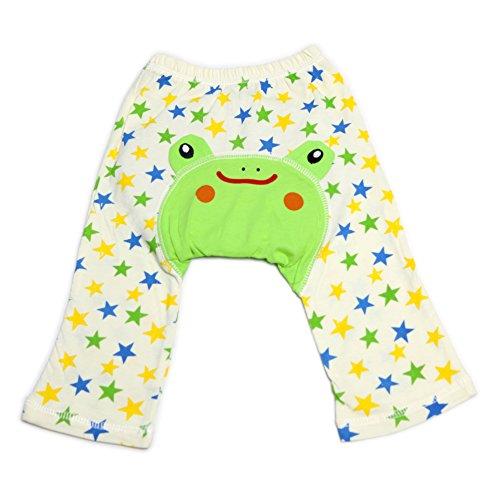 Dotty Fish Baby und Kleinkind Baumwoll-Leggings. Grüner Frosch mit Sternen. Mittel (12-24 Monate) -