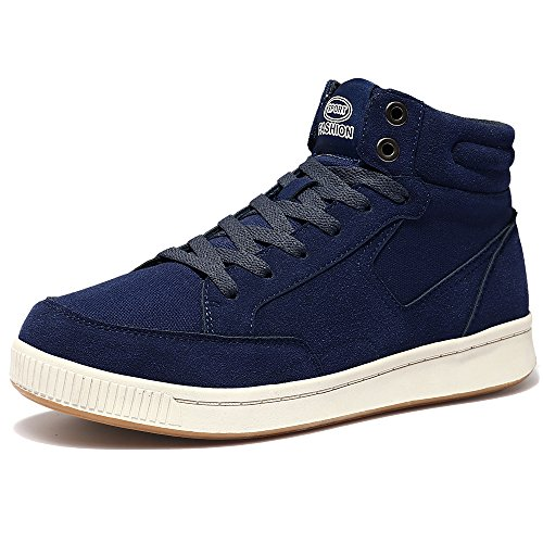 VILOCY Herren Damen Segeltuch Knöchel Stiefel Winter Pelz Gefüttert Draussen Schlittschuh Sport Schnee Sneaker Schuhe Blau 45 (Unten Knöchel-länge Herren)