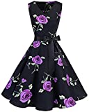 bridesmay Damen Vintage 1950er Rockabilly Ärmellos Retro Cocktailkleid Partykleid Purple Flower 4XL