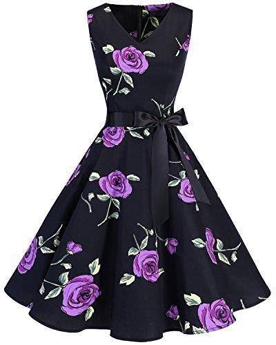 bridesmay 1950er V-Ausschnitt Kleid Vintage Cocktailkleid Rockabilly Retro Schwingen Kleid Faltenrock Purple Flower 2XL -