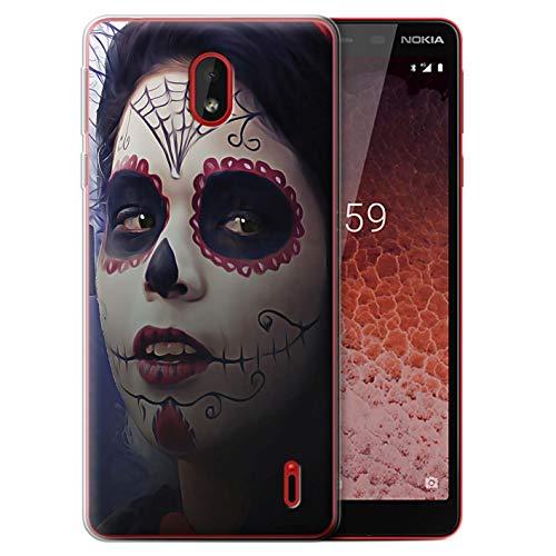 eSwish Gel TPU Hülle/Case für Nokia 1 Plus 2019 / Halloween Bilden Muster/Tag Der Toten Festival Kollektion (Halloween-2019 Der Tag Toten)