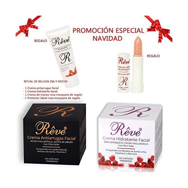 REVE Pack de Crema Antiarrugas Facial Argán con Ácido Hialurónico + Crema Hidratante rosa mosqueta – Día y Noche…