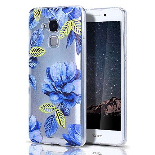 """Huawei Honor 5C/GT3 Hülle, CaseLover Ultradünner Transparenter Tasche Schutzhülle, Honor 5C/7 Lite/Huawei GT3 5.2"""" Weiche TPU Handyhülle Stoßdämpfende Schale Fall Case Shell, Blaue Blume"""