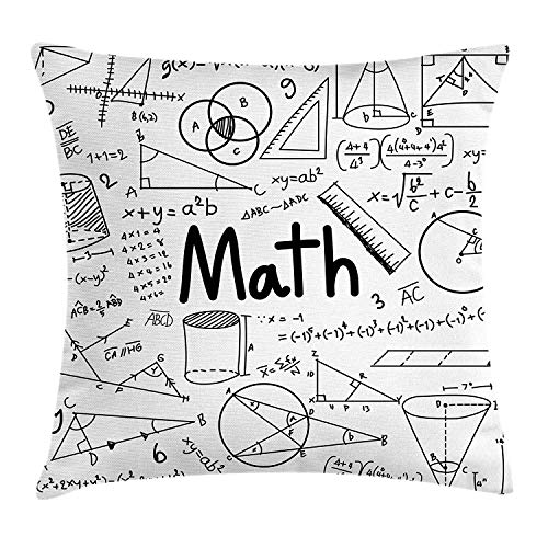 Mathematics Classroom Decor Throw Pillow Cushion Cover, Hand Written Math Text and Icons Equations Geometrical Shapes, Decorative Square Accent Pillow Case, 18 X 18 Inches, Black White