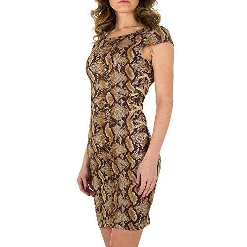 Ital-Design Wildlederoptik Animal Print Kleid Noemi Kent Gr. L Khaki