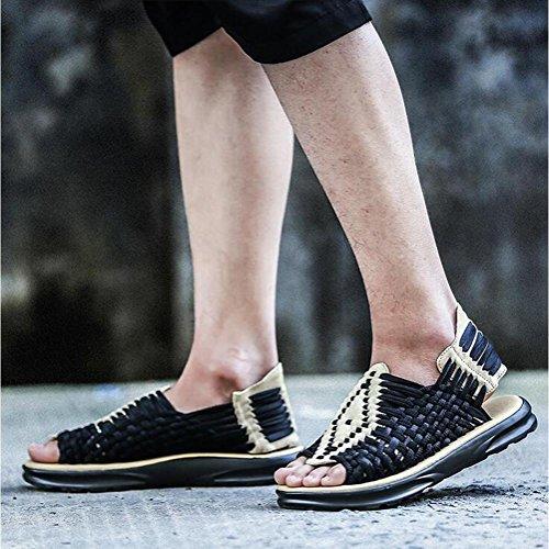 Männer / Damen gewebte Sandalen bequem atmungsaktiv leicht langlebig Sommer Vintage gewebte Schuhe Beige