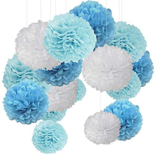 15er Set Pompoms Deko Bunt Seidenpapier Pompons für Hochzeit, Geburtstag, Party Blau Flach Blau Weiß (3pcs*30.5cm/6pcs*25cm/6pcs*15.5cm)