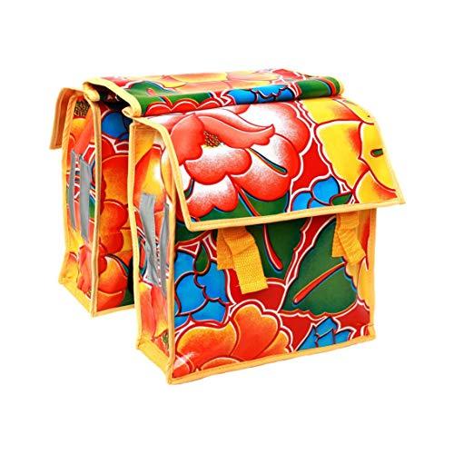 IKURI Kinderfahrradtasche Wasserdicht - kleine Fahrradtasche für Klapprad oder Faltrad Gepäckträgertasche Wachstuch Tehuana rot -