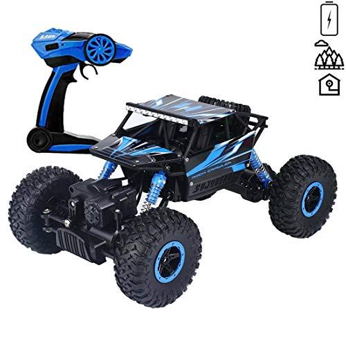 deAO 6 Kanal Fernbedienung Rock Crawler 1:18 Skala Off Road Auto Rally Buggy (blau) (Rally Ferngesteuerte Auto)