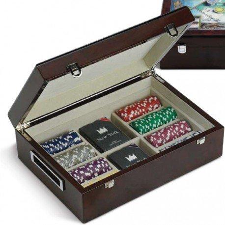 JUEGO Las Vegas scatola in legno con 500 fiches e 2 mazzi di carte da Poker
