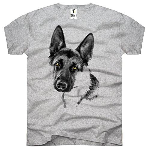 TEE-Shirt, Herren T-Shirt mit Aufdruck. Coole Motive. T-Shirt mit Schäferhund Druck. Grau