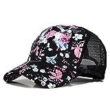 Blumendruck Snapback Cap Floral Hip Hop Baseballkappe Flat Schildmütze mit Metal Anwendung (One size, Hollow Schwarz)