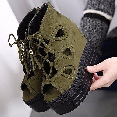 Scarpe Donna FYZSDONNA stivali invernali Mary Jane Pu cuneo casuale Piuma Heel US6 / EU36 / UK4 / CN36
