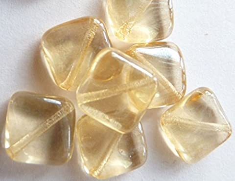 20(PCS) X 8mm tschechische Fliesen Brick Glas quadratisch rechteckig Spacer Perlen–Lister Bernstein/hellbraun–V013
