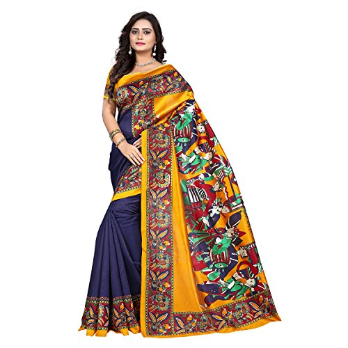 Jaanvi Fashion Women's Art Silk Kalamkari Printed Saree (Blue_Warli)