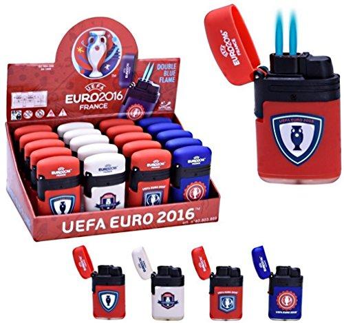 Euro 2016 - 1 Briquet Tempête UEFA officiel double flamme taille règlable - rechargeable - niveau de gaz visible - hyper pratique