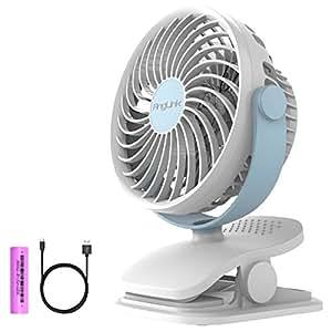 AngLink Mini Ventilatore USB con Clip e Batteria Ventilatore da Tavolo Rotazione di 360 ° | 4 velocità potente e silenzioso per scrivania ,auto,casa ufficio,viaggiare