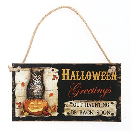 OULII Türschild Vintage Schild Halloween Deko Tür Wand Fenster Aufhänger (Sprüche Zeichen Halloween)