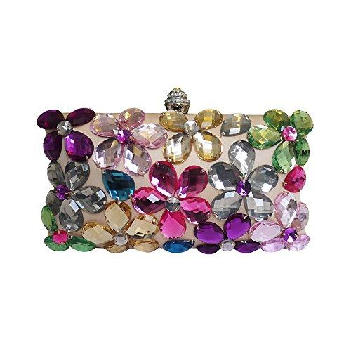 Anna Cecere Italienisch Entwickelt Fiori Juwel Clutch Abendtasche (rosa) (Jeweled Handtasche Blue)